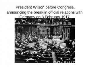 President Wilson before Congress, announcing the break in official relations wit
