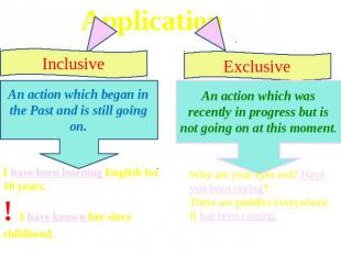 Application Inclusive An action which began in the Past and is still going on. I