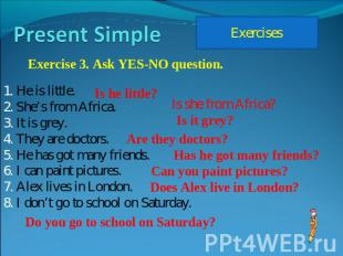 Present Simple Exercise 3. Ask YES-NO question. He is little.She's from Africa.I