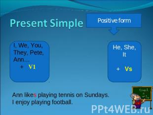Present Simple Positive form I, We, You, They, Pete, Ann… + V1 He, She, It+ Vs A