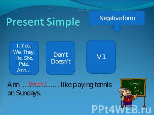 Present Simple Negative form I, You, We, They, He, She, Pete, Ann… Don'tDoesn't