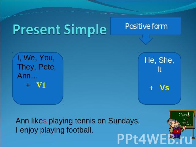 Present Simple Positive form I, We, You, They, Pete, Ann… + V1 He, She, It+ Vs Ann likes playing tennis on Sundays.I enjoy playing football.