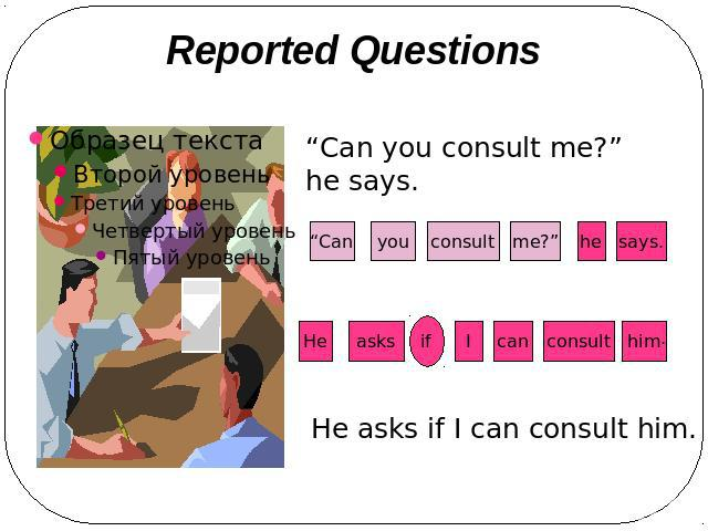 "Reported Questions ""Can you consult me?"" he says. He asks if I can consult him."