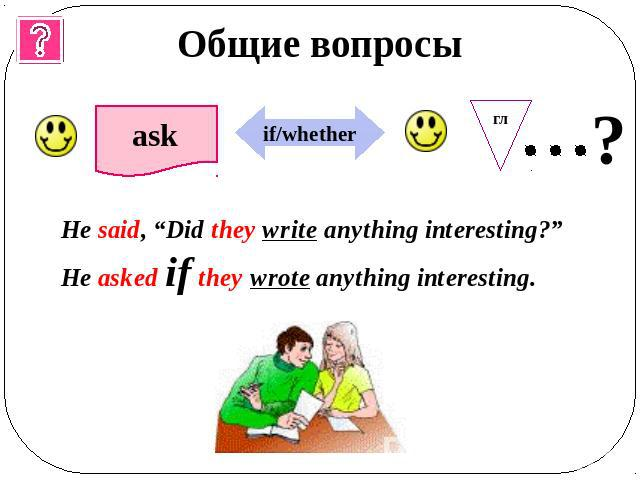 "Общие вопросы He said, ""Did they write anything interesting?""He asked if they wrote anything interesting."