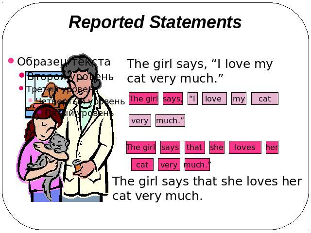 "Reported Statements The girl says, ""I love my cat very much."" The girl says that she loves her cat very much."