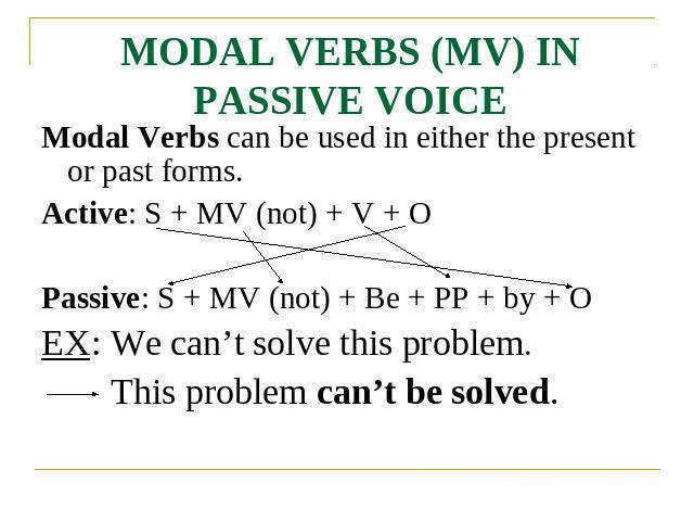 MODAL VERBS (MV) IN PASSIVE VOICE Modal Verbs can be used in either the present or past forms.Active: S + MV (not) + V + OPassive: S + MV (not) + Be + PP + by + OEX: We can't solve this problem.This problem can't be solved.