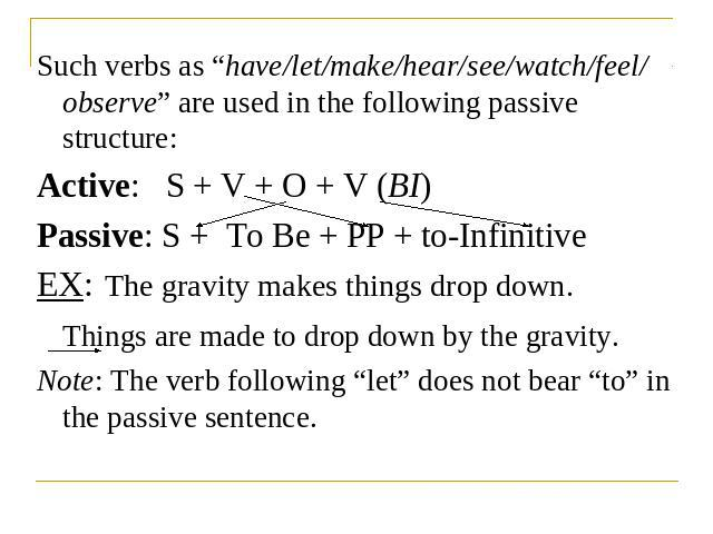 "Such verbs as ""have/let/make/hear/see/watch/feel/ observe"" are used in the following passive structure:Active: S + V + O + V (BI)Passive: S + To Be + PP + to-InfinitiveEX: The gravity makes things drop down.Things are made to drop down by the gravit…"