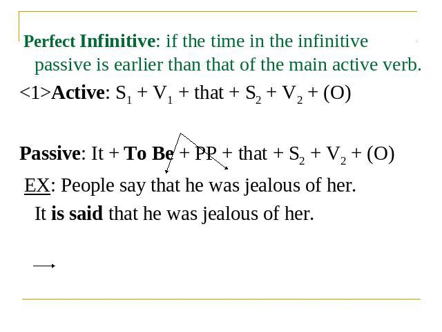 Perfect Infinitive: if the time in the infinitive passive is earlier than that of the main active verb.Active: S1 + V1 + that + S2 + V2 + (O)Passive: It + To Be + PP + that + S2 + V2 + (O) EX: People say that he was jealous of her.It is said that he…