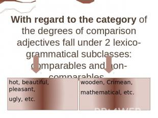 With regard to the category of the degrees of comparison adjectives fall under 2