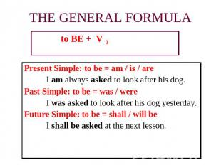 to BE + V 3 to BE + V 3 to BE + V 3 Present Simple: to be = am / is / are I am a