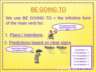 BE GOING TO We use BE GOING TO + the infinitive form of the main verb for: I am