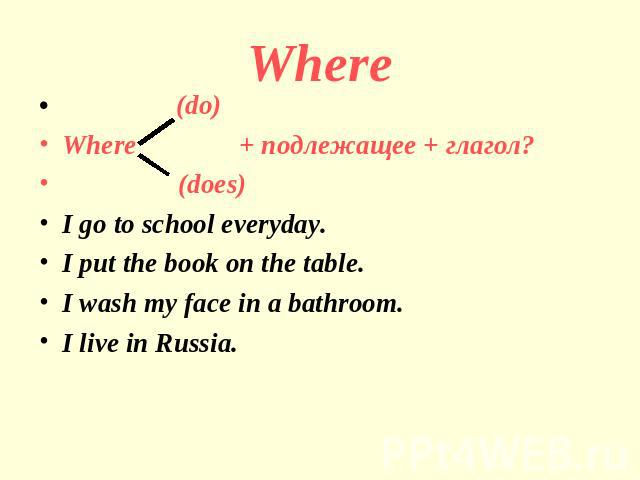 Where (do)Where + подлежащее + глагол? (does)I go to school everyday.I put the book on the table.I wash my face in a bathroom.I live in Russia.