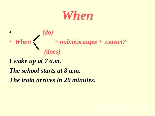 When (do)When + подлежащее + глагол? (does)I wake up at 7 a.m.The school starts at 8 a.m.The train arrives in 20 minutes.