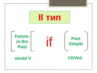 II тип Future-in-the Past would V if Past Simple V2/Ved
