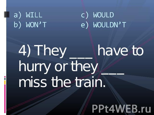 a) WILLb) WON'Tc) WOULDe) WOULDN'T 4) They ___ have to hurry or they ___ miss the train.