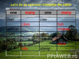 Let's do an exercise! Complete the table!
