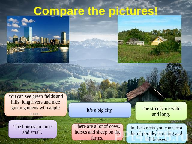 Compare the pictures! You can see green fields and hills, long rivers and nice green gardens with apple trees. The houses are nice and small. It's a big city. There are a lot of cows, horses and sheep on the farms. The streets are wide and long. In …