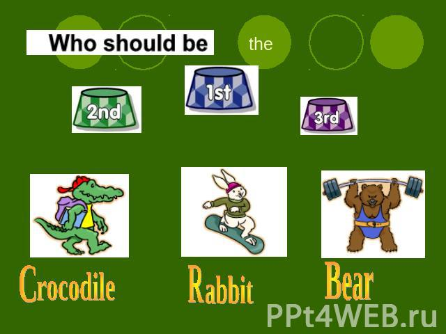 Who should be the first ? rocodile R abbit B ear