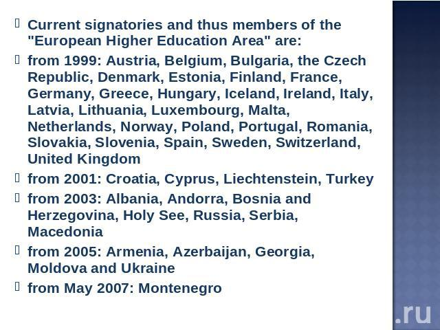 Current signatories and thus members of the