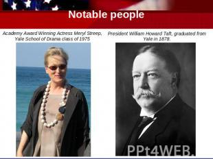 Notable people Academy Award Winning Actress Meryl Streep, Yale School of Drama