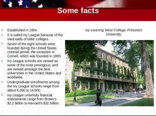 Some facts Established in 1954.It is called Ivy League because of the ivied wall