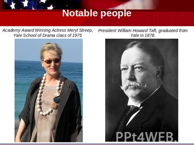 Notable people Academy Award Winning Actress Meryl Streep, Yale School of Drama class of 1975 President William Howard Taft, graduated from Yale in 1878.