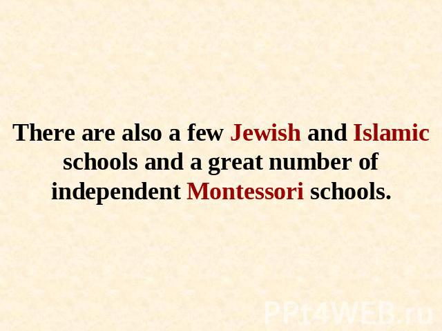 There are also a few Jewish and Islamic schools and a great number of independent Montessori schools.