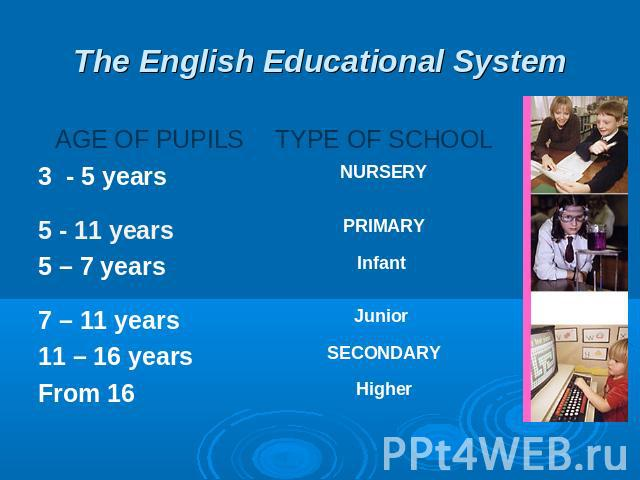 The English Educational System