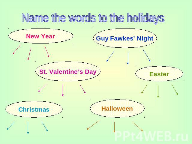 Name the words to the holidays New Year Guy Fawkes' Night St. Valentine's Day Easter Christmas Halloween