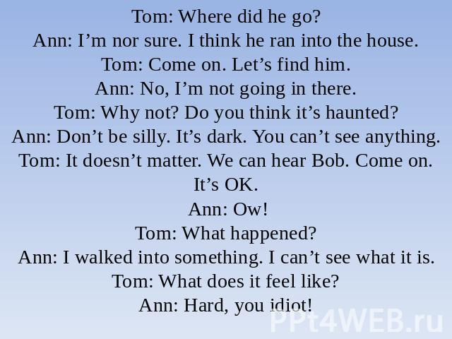 Tom: Where did he go?Ann: I'm nor sure. I think he ran into the house.Tom: Come on. Let's find him.Ann: No, I'm not going in there.Tom: Why not? Do you think it's haunted?Ann: Don't be silly. It's dark. You can't see anything.Tom: It doesn't matter.…