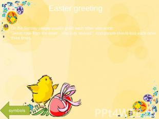 "Easter greeting On the Sunday people usually greet each other with world: ""Jesus"