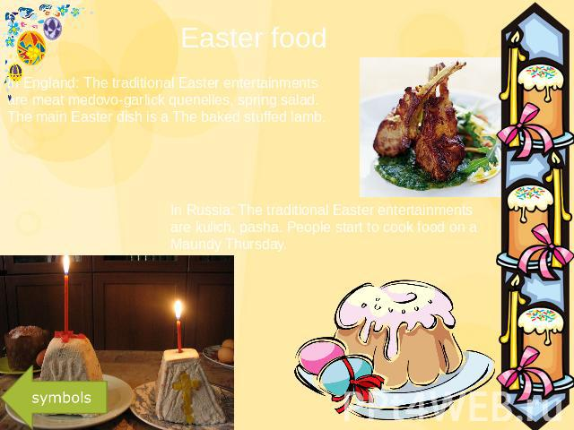 Easter food In England: The traditional Easter entertainments are meat medovo-garlick quenelles, spring salad. The main Easter dish is a The baked stuffed lamb. In Russia: The traditional Easter entertainments are kulich, pasha. People start to cook…