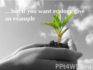 …but if you want ecology give an example