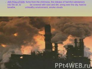 AIR POLLUTION: fume from the chimneys, the release of harmful substances into th