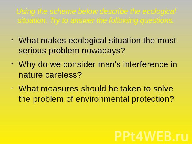 Using the scheme below describe the ecological situation. Try to answer the following questions. What makes ecological situation the most serious problem nowadays?Why do we consider man's interference in nature careless?What measures should be taken…