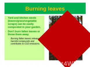 Burning leaves Yard and kitchen waste (leaves/grass/vegetable scraps) can be eas