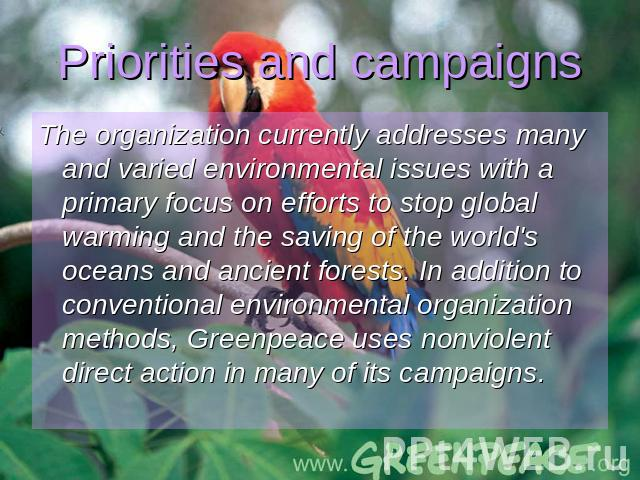 the organization introduction greenpeace Greenpeace is the leading independent campaigning organization that uses peaceful direct action and creative communication to expose global environmental problems.