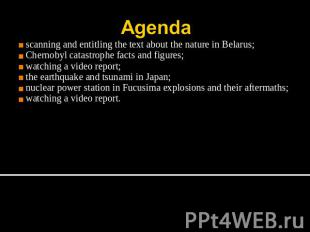 Agenda scanning and entitling the text about the nature in Belarus;Chernobyl cat