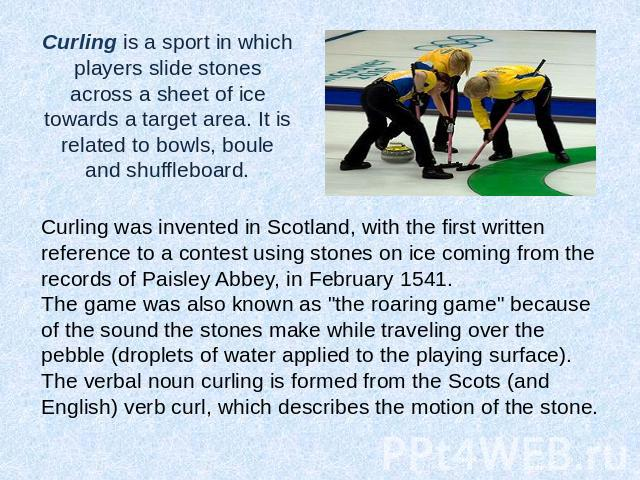 is curling a sport essay A canadian-born curler understands her sport isn't super popular, but doesn't think she should have to make the case that curling is a sport at all.