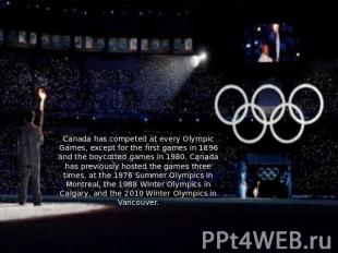 Canada has competed at every Olympic Games, except for the first games in 1896 a