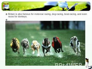Britain is also famous for motorcar racing, dog-racing, boat-racing, and even ra