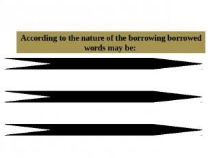 1.2 The classification of borrowed words According to the nature of the borrowin