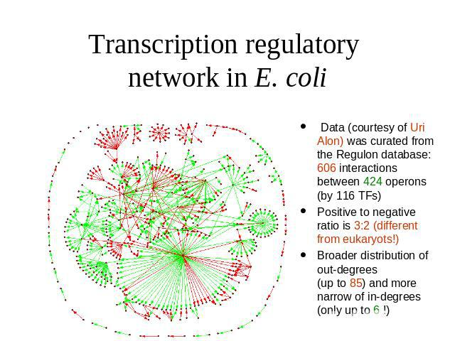 Transcription regulatory network in E. coli Data (courtesy of Uri Alon) was curated from the Regulon database: 606 interactions between 424 operons (by 116 TFs) Positive to negative ratio is 3:2 (different from eukaryots!) Broader distribution of ou…
