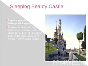 Sleeping Beauty Castle Step into your dream castle, where you'll find your princ