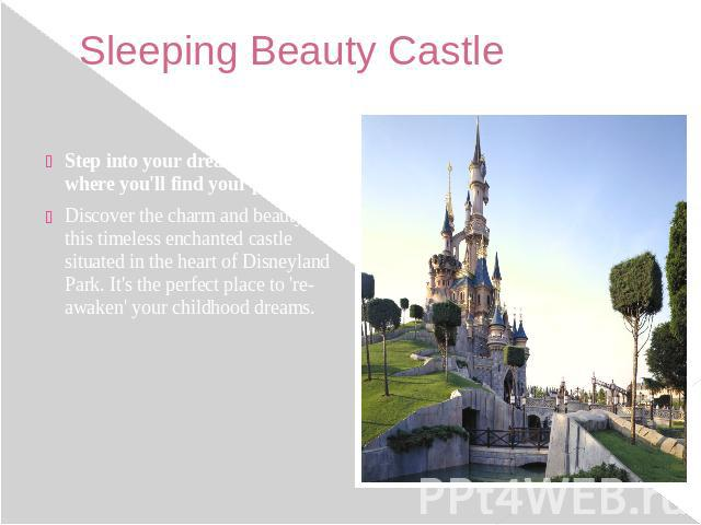 Sleeping Beauty Castle Step into your dream castle, where you'll find your prince! Discover the charm and beauty of this timeless enchanted castle situated in the heart of Disneyland Park. It's the perfect place to 're-awaken' your childhood dreams.