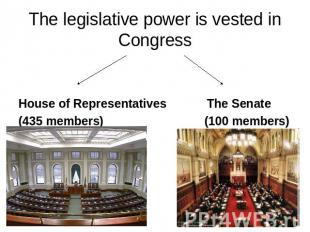 The legislative power is vested in Congress House of Representatives The Senate