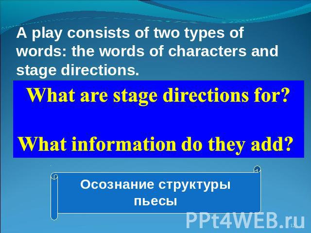 A play consists of two types of words: the words of characters and stage directions. What are stage directions for? What information do they add? Осознание структуры пьесы