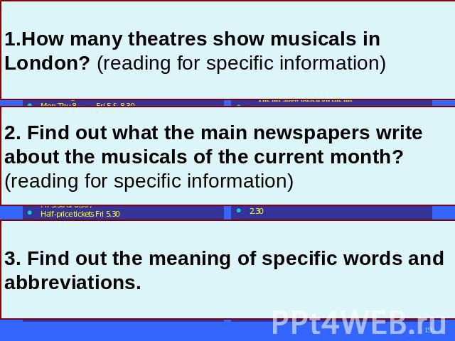 1. How many theatres show musicals in London? (reading for specific information) 2. Find out what the main newspapers write about the musicals of the current month? (reading for specific information) 3. Find out the meaning of specific words and abb…