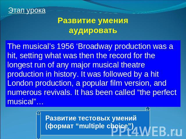 Развитие умения аудировать The musical's 1956 'Broadway production was a hit, setting what was then the record for the longest run of any major musical theatre production in history. It was followed by a hit London production, a popular film version…