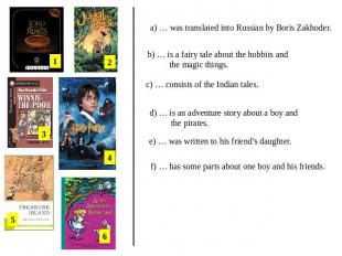 a) … was translated into Russian by Boris Zakhoder. b) … is a fairy tale about t
